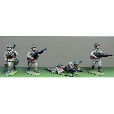 Helmets, DP LMG crews moving and firing