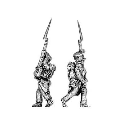 Fusilier, covered shako, march attack