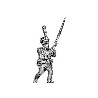 Grenadier, lozenge plate, shako cords and plume, advancing