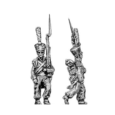 Grenadier, covered shako, march attack
