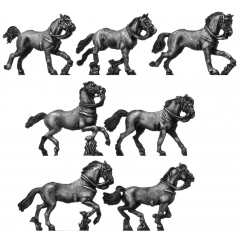 Heavy cavalry horse, galloping