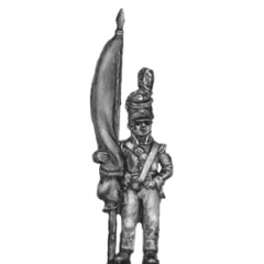 Standard bearer, barretina, with cast flag