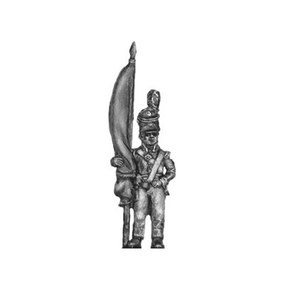 Standard bearer, barretina, with cast flag