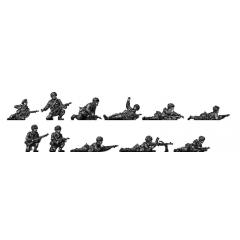 Airborne squad kneeling and prone