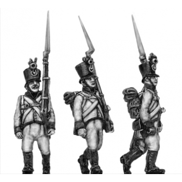 German fusilier, shako, marching, shoulder arms