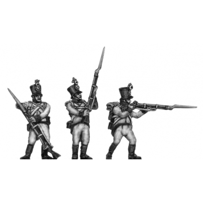 German fusilier, shako, firing and loading