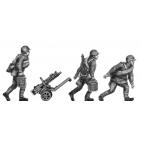 Maxim gun team, helmet, advancing