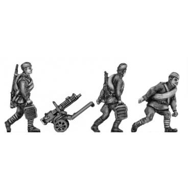 Maxim gun team, caps, advancing