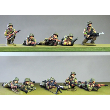 Infantry section, windproofs, kneeling and prone