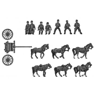 Limber team (riders in kepi) -six horses, limber and crew
