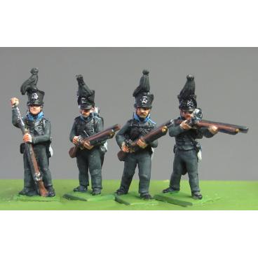 Lieb Regiment firing and loading, Waterloo