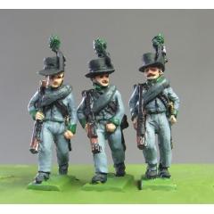 Avantgarde marching, rifles (big Corsican hats - Waterloo)