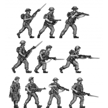 Tropical Infantry, trousers, shirt sleeves, advancing