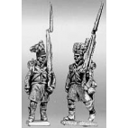 Highland infantry flank company, marching, shoulder arms