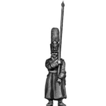 Grenadier standard bearer, shako, greatcoat