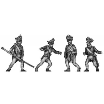 Foot artillery, moving gun