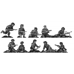 Infantry squad, defending poses