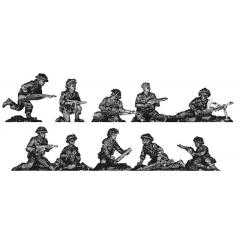 Infantry squad, defending poses