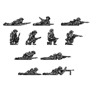 Infantry section, kneeling and prone
